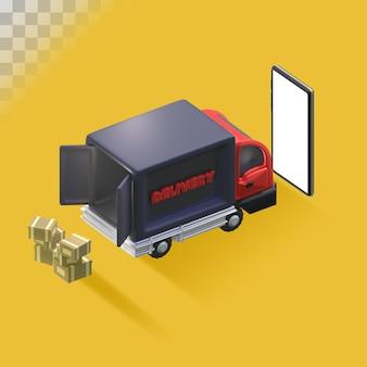 Online bestelling bezorgen. 3d illustratie