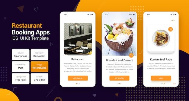 Online boeken van restaurants en levering aan huis mobiele apps