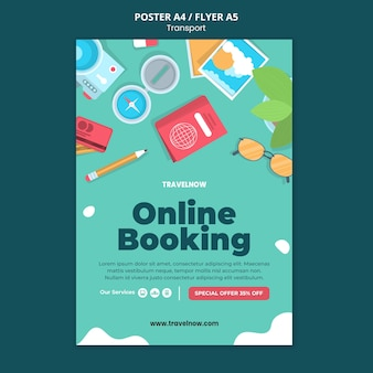 Online boeking poster sjabloon