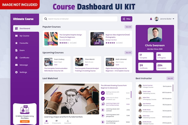 Online course dashboard ui kit