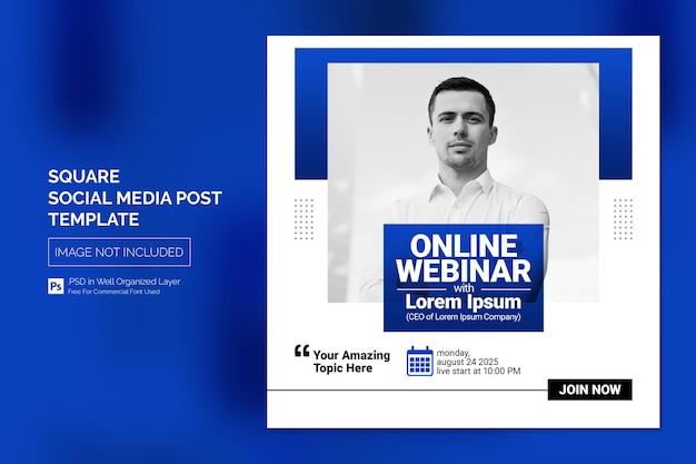 Online cursus en webinar social media post of square web banner template