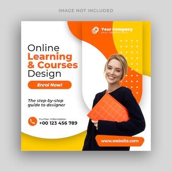 Online cursussen sociale media plaatsen banner & vierkante flyer