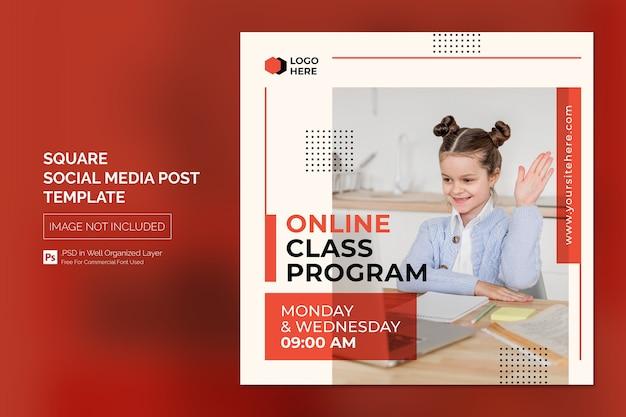 Online klasprogramma sociale media post of vierkante banner sjabloon