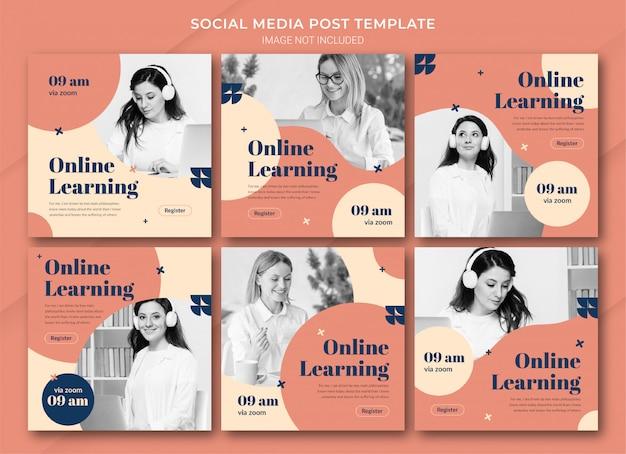 Online leren instagram-berichtbundelsjabloon Premium Psd