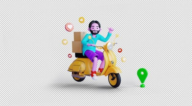 Online levering 3d-illustratieweergave