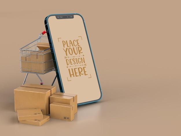 Online levering met mockupsjabloon voor smartphone met afleverpakket
