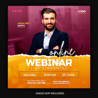 Online live webinar sociale media post vierkante sjabloon