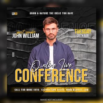 Online live zakelijke conferentie social media postbannersjabloon