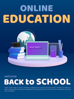 Online onderwijs modern plat ontwerp