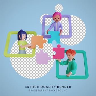 Online probleemoplossing en samenwerking in teamverband 3d-afbeelding van hoge kwaliteit