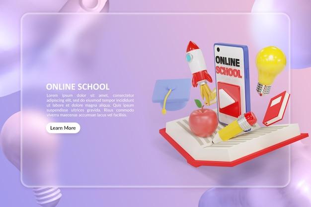 Online school-bestemmingspagina met 3d-renderboek en smartphone-illustratie