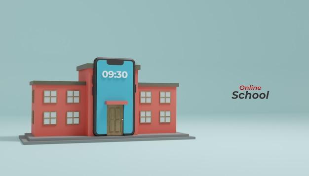 Online schoolonderwijs op mobiele smartphone 3d render