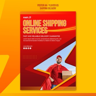 Online shopping services poster sjabloon