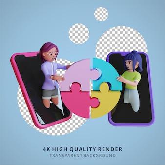 Online teamwork samenwerking door smartphone 3d hoge kwaliteit render illustratie