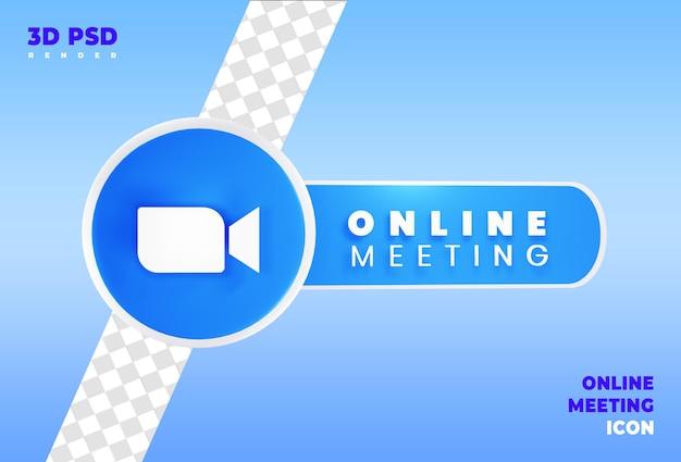 Online vergadering 3d render pictogram badge geïsoleerd Premium Psd