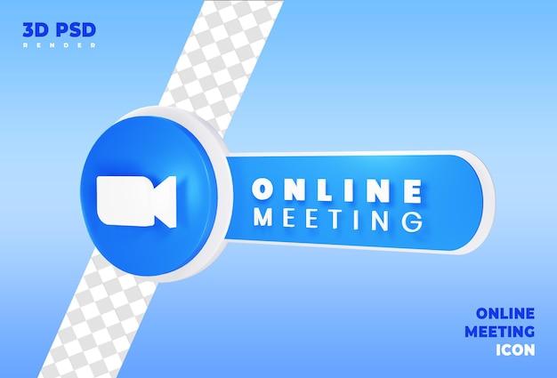 Online vergadering 3d render pictogram badge geïsoleerd