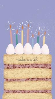 Online verjaardagswenssjabloon psd met schattige cake en wenstekst