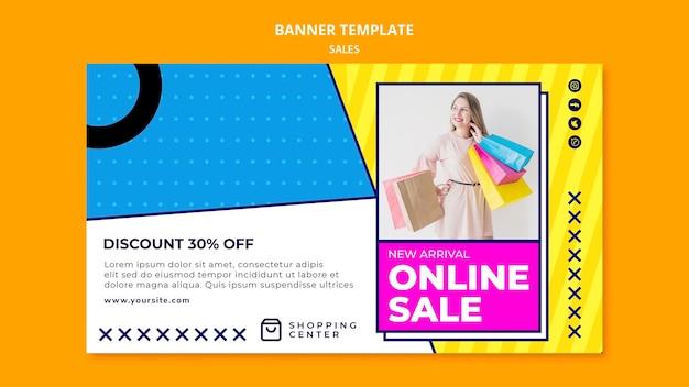 Online verkoop met kortingsbannersjabloon