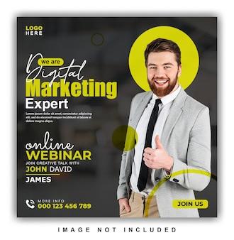 Online webinar over digitale marketing en post op sociale media voor bedrijven