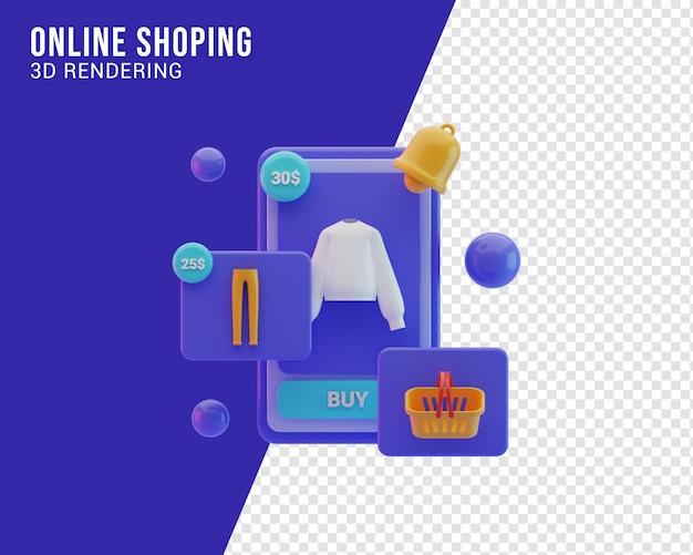 Online winkel illustratie, 3d-rendering