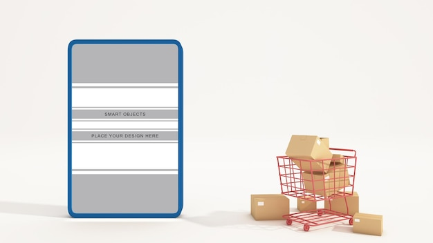 Online winkel met mobiele applicatie marketing en e-commerce
