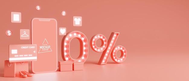 Online winkelconcept, leeg scherm van mobiele telefoon met creditcard en procent korting mock-up op roze achtergrond. 3d-rendering, 3d-illustratie