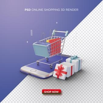 Online winkelen 3d render met een winkelwagentje op een smartphone