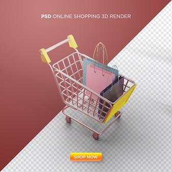 Online winkelen 3d render met winkelwagentje en boodschappentas