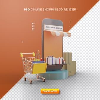 Online winkelen 3d render met zwarte smartphone en winkelwagentje