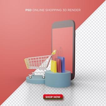 Online winkelen 3d-rendering met smartphone en winkelwagentje