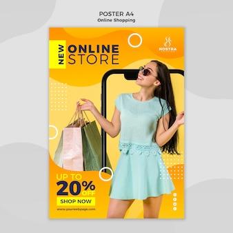 Online winkelen concept poster sjabloon