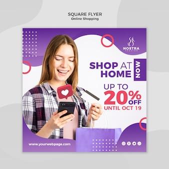 Online winkelen concept vierkante flyer-sjabloon