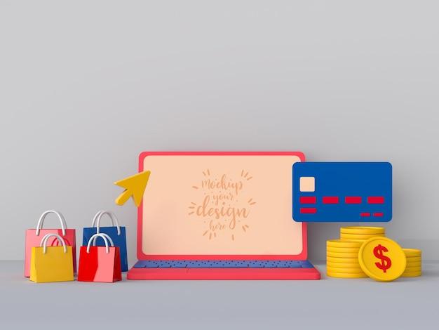 Online winkelen met mockupsjabloon voor laptops en winkelelementen