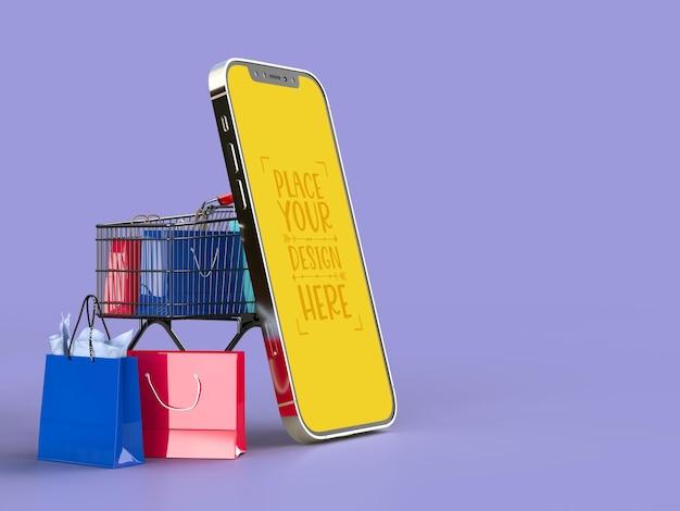 Online winkelen met mockupsjabloon voor mobiele en winkelelementen