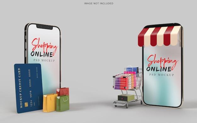 Online winkelen met mockupsjabloon voor smartphones