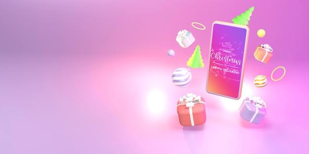 Online winkelen met smartphone. marketing en digitale marketing, kerstcadeaudoos, ballen, sociale reclame, 3d illustratie