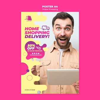 Online winkelen sjabloon voor poster