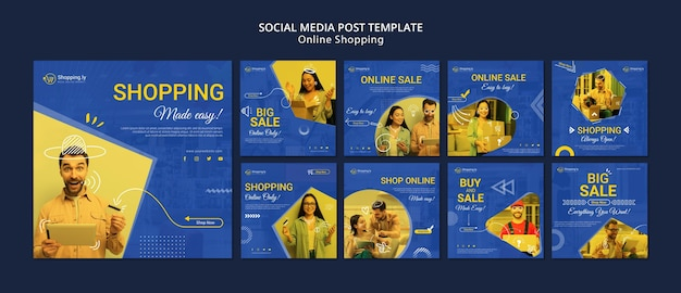 Online winkelen social media postsjabloon