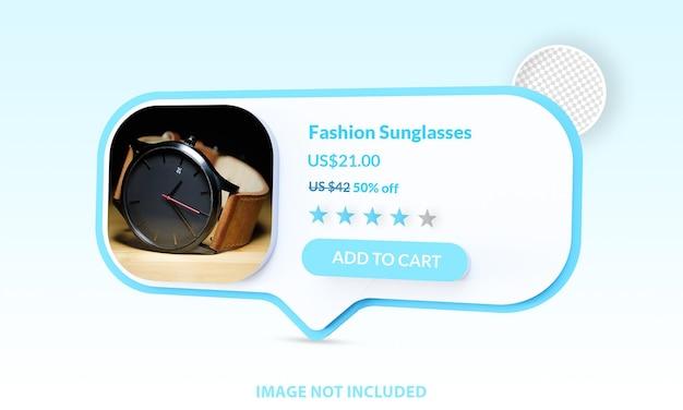 Online winkelen toevoegen aan winkelwagen e-commerce mockup geïsoleerd