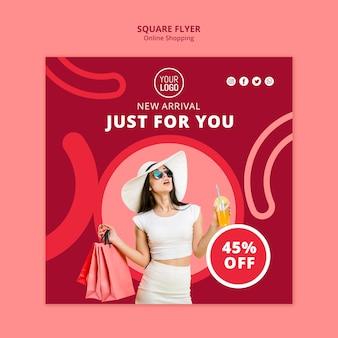 Online winkelen vierkante flyer-sjabloon