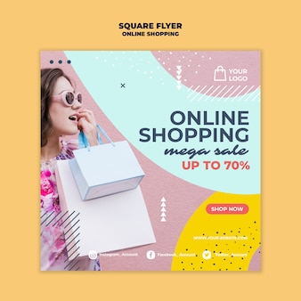 Online winkelen vierkante flyer-stijl