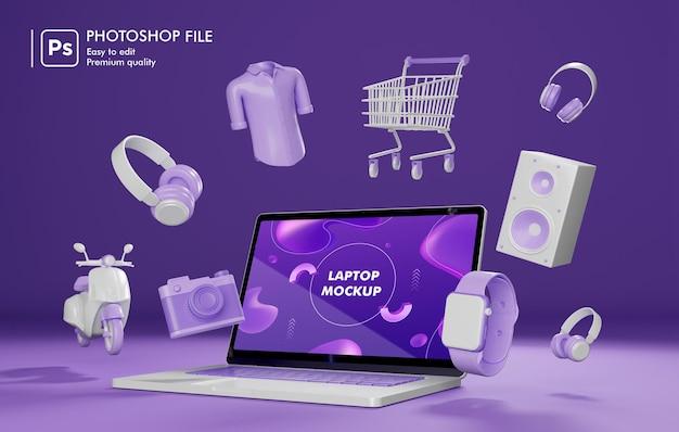 Online winkelobject rond laptop 3d-rendering