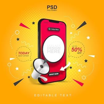 Online winkelpromotie op mobiel concept