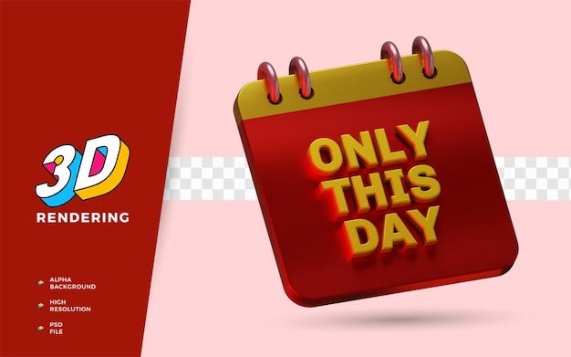 Only this day shopping day korting flash sale festival 3d render object illustratie