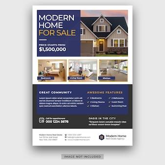 Onroerend goed bedrijf modern huis te koop flyer ontwerpsjabloon psd premium psd