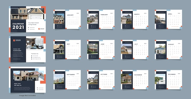 Onroerend goed bureau kalendersjabloon