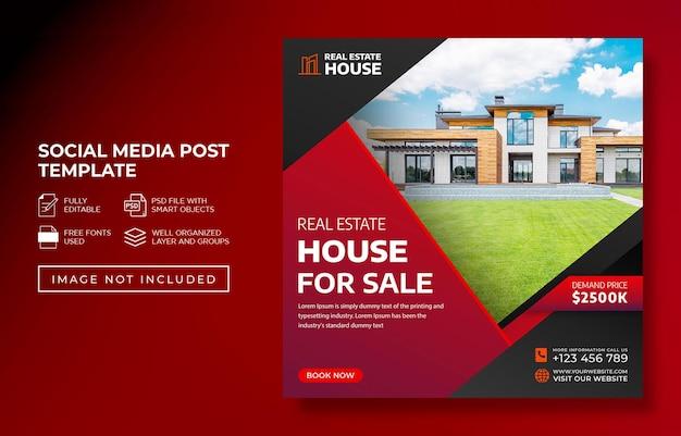 Onroerend goed huis eigendom instagram post en reclame webbanner of flyer-sjabloon