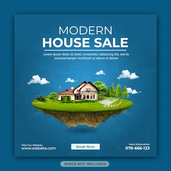 Onroerend goed huis eigendom sociale media instagram vierkante bannersjabloon