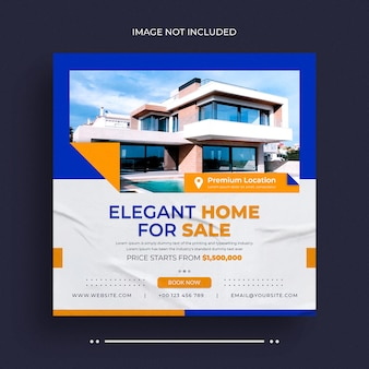 Onroerend goed huis eigendom sociale media post webbanner flyer en instagram post foto ontwerp templa