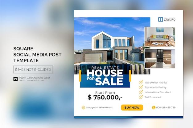 Onroerend goed huis onroerend goed instagram post of vierkante webbanner advertentiesjabloon